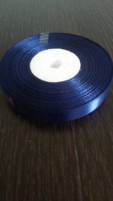 Лента атласная h 12 мм рулон синий темный