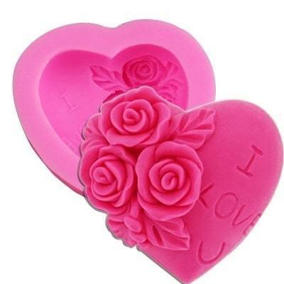 Силиконовый молд Роза в сердце 7*4 см