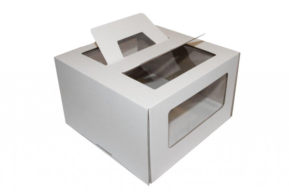 Коробка для торта гофрокартон с ручками белая 26*26*20 см