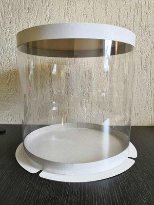 Коробка для торта круглая d300 мм h215 мм ПЛАСТИК белая