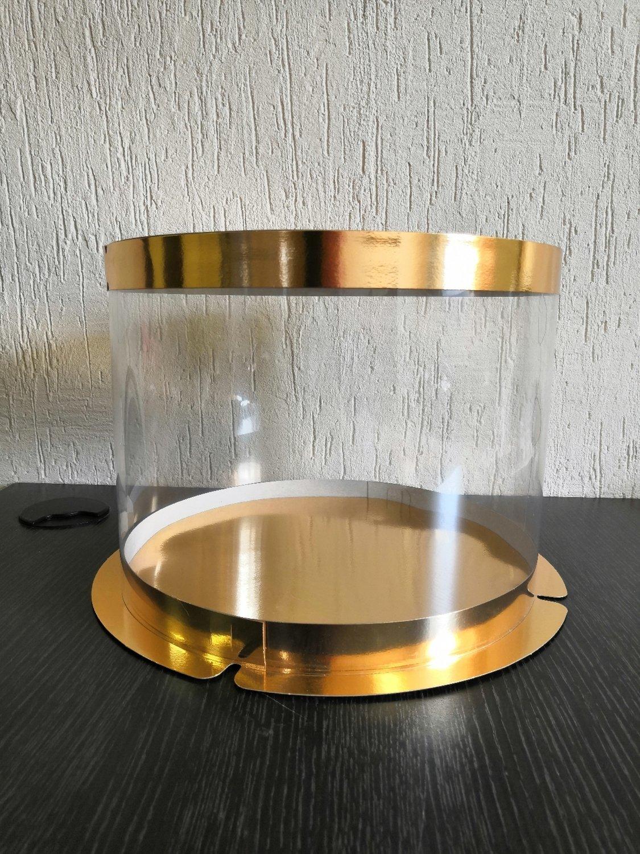 Коробка для торта круглая d300 мм h215 мм ПЛАСТИК золото