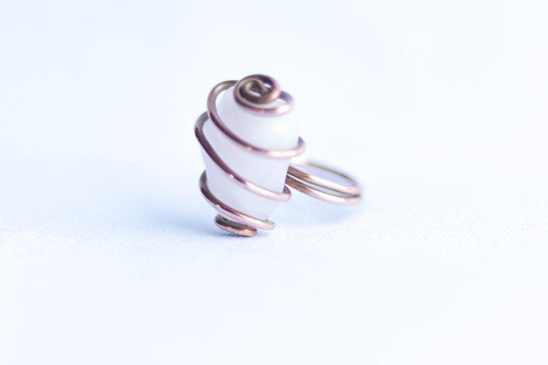 Rose Quartz Copper Ring