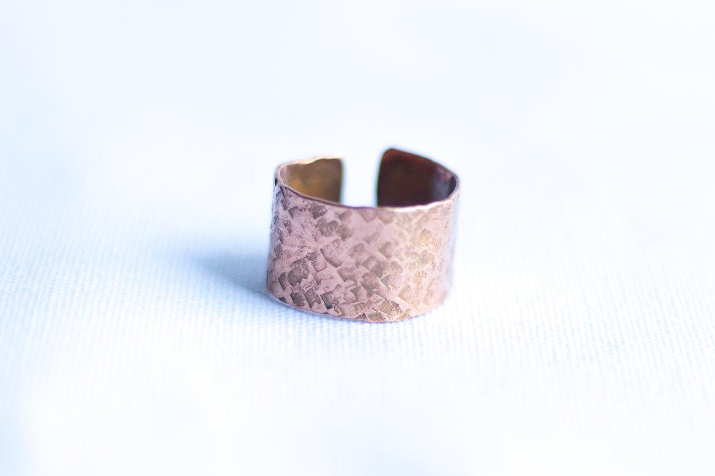 Cuff Copper Ring [Textured]