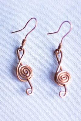 """""""Music Note"""" Copper Earrings"""