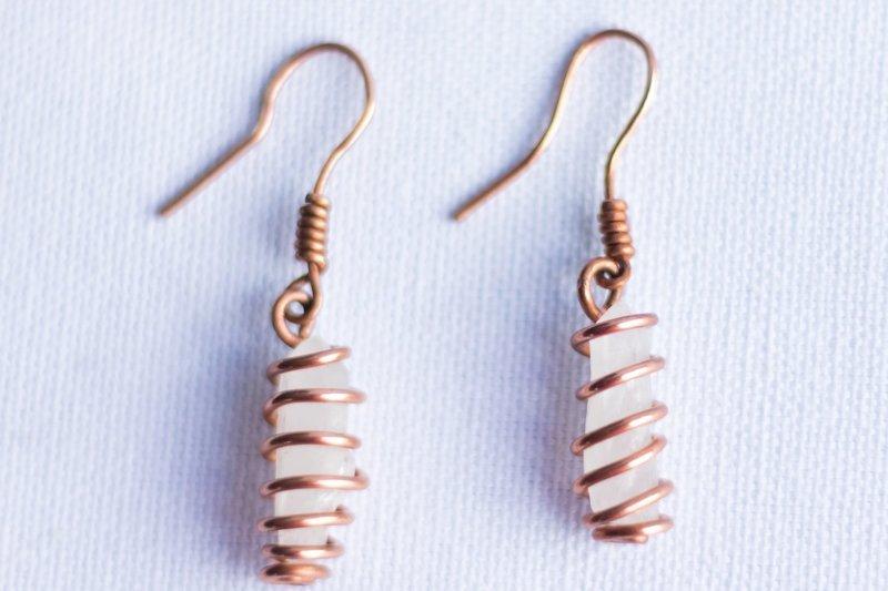 Clear Quartz Copper Earrings