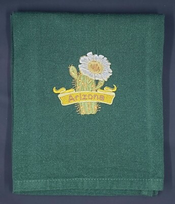 Arizona Saguaro Cactus Green Plain Weave Towel