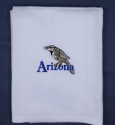 Cactus Wren White Plain Weave Towel
