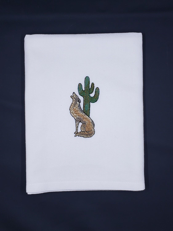 Coyote & Cactus White Towel