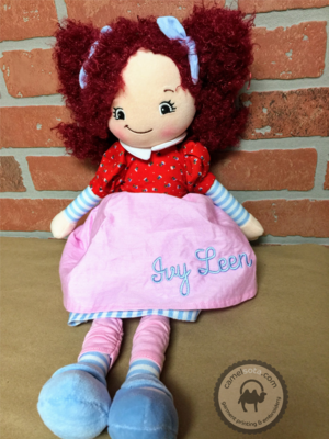 Custom Embroidered Rag Doll - Raspberry