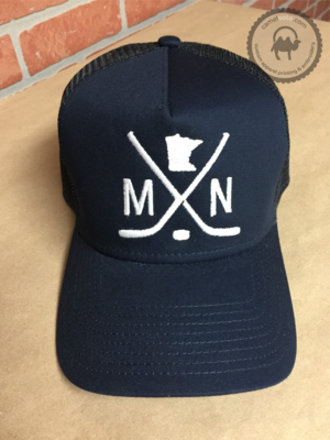 Embroidered MN Hockey Hat - New Era Snapback Trucker Hat