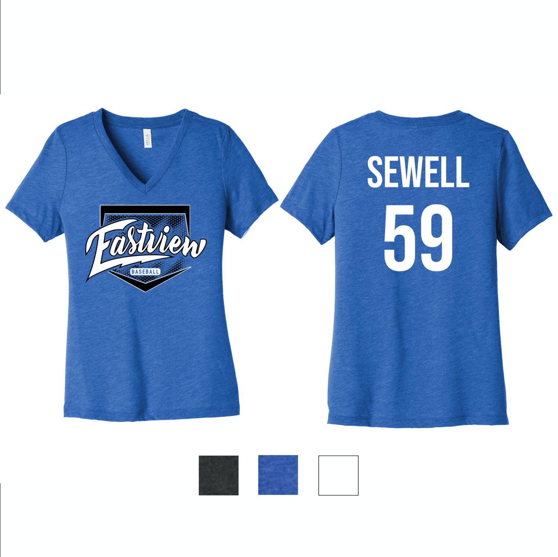 Eastview Baseball Bella+Canvas® Women's Relaxed Short Sleeve V-Neck Tee