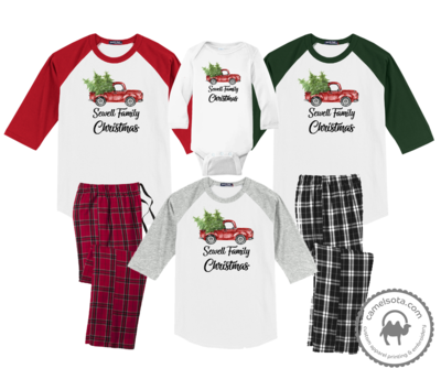 Family Coordinating Christmas Shirts and Pajama Pants - Retro Truck