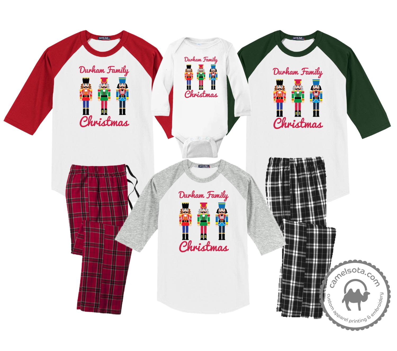 Family Coordinating Christmas Shirts and Pajama Pants - Nutcrackers