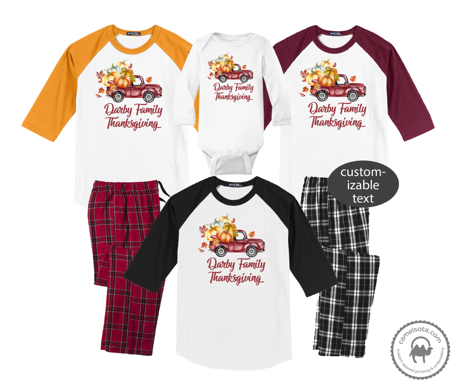 Family Coordinating Thanksgiving Shirts and Pajama Pants - Harvest Retro Truck