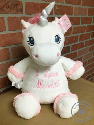 Custom Embroidered White Unicorn Cubbie