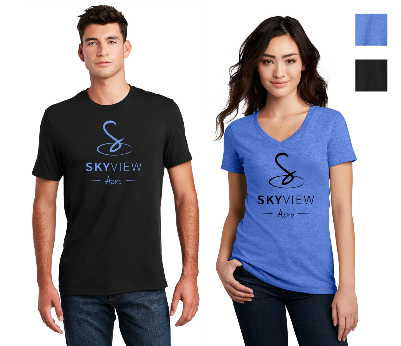 Adult V-Neck and Crewneck Shirts - Skyview Acro Gym