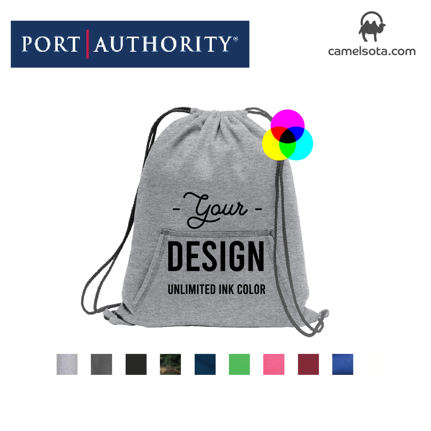 Custom Printed Port & Company Core Fleece Sweatshirt Cinch Pack Bag