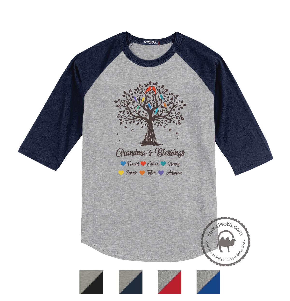 Grandma Tree Blessings Shirts with Grandkids Names - Light Grey
