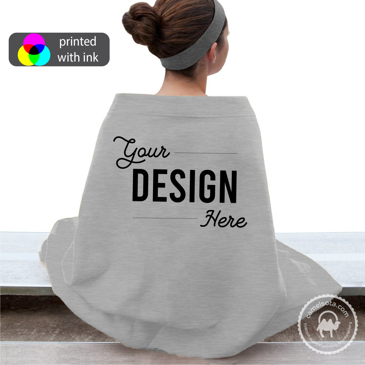 Custom Design Printed on Port & Company Sweatshirt Blanket - Grey