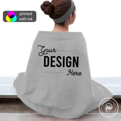 Custom Design Printed on Port & Company Sweatshirt Blanket - Grey