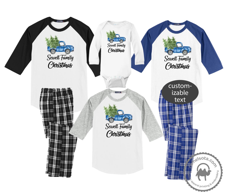 Family Coordinating Christmas Shirts and Pajama Pants - Retro Blue Truck