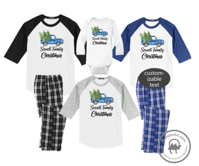 Family Coordinating Christmas Shirts and Pajama Pants - Retro Blue Truck