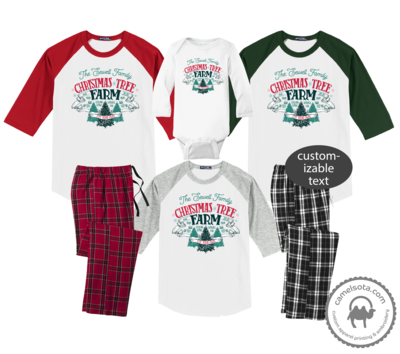 Family Coordinating Christmas Shirts and Pajama Pants - Christmas Tree Farm