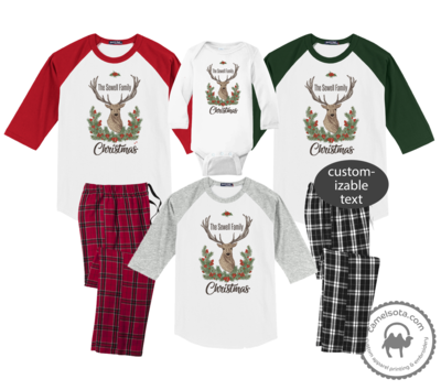 Family Coordinating Christmas Shirts and Pajama Pants - Cranberry Reindeer