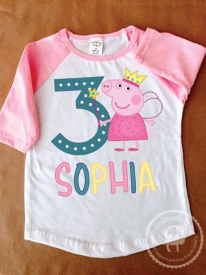 Fairy Peppa Pig Girl's Birthday Tee