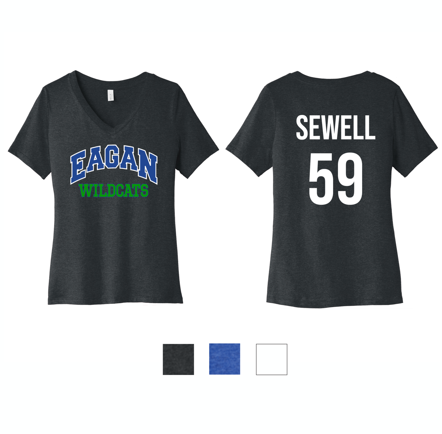Eagan Wildcats Bella+Canvas® Women's Relaxed Short Sleeve V-Neck Tee