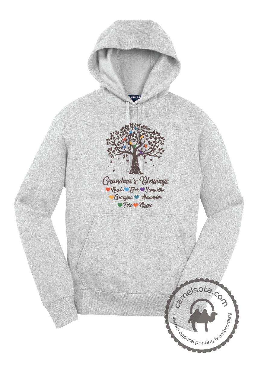 Grandma Tree Blessings Heavyweight Hoodie with Grandkids Names