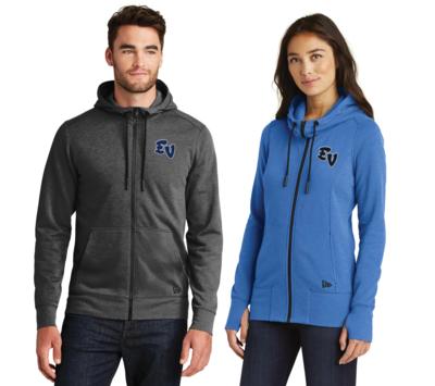 Embroidered Eastview Baseball New Era® Tri-Blend Full Zip Hoodie
