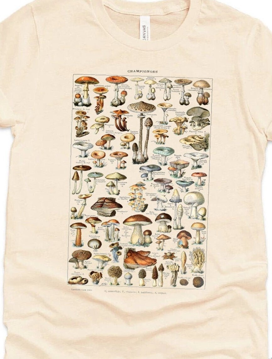 Mushroom Shirt Vintage Chart Encyclopedia Shirt