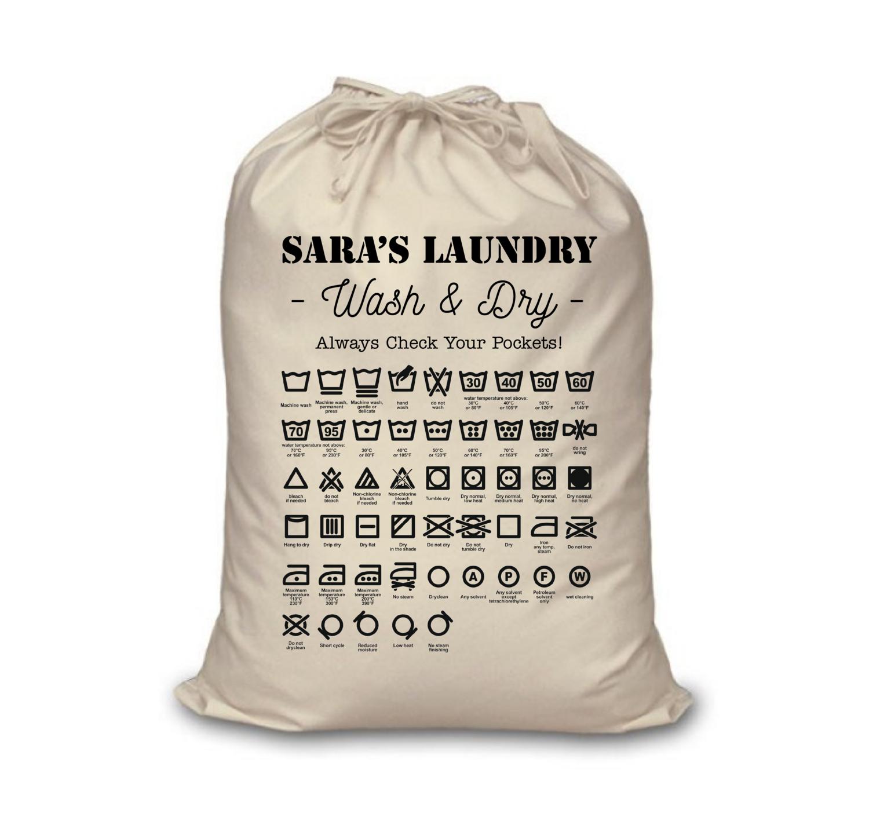 Customizable Laundry Bag with Laundry Symbols