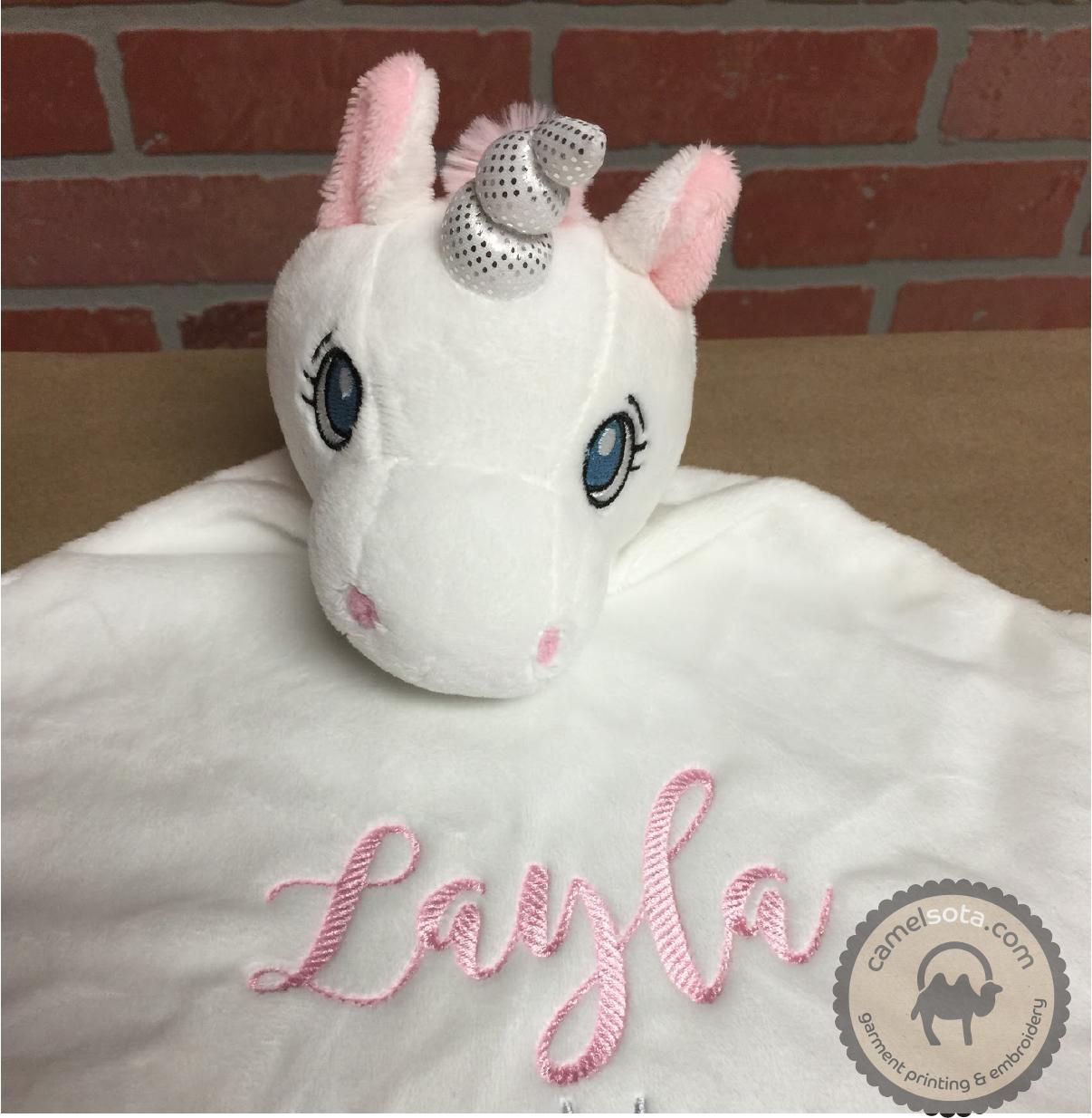 Custom Embroidered White Unicorn Blankie