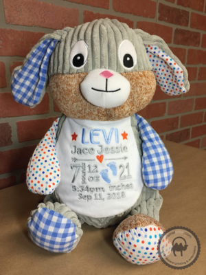 Custom Embroidered Bunny Cubbie - Harlequin Blue Bunny