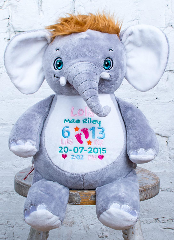 Custom Embroidered Elephant Cubbie - Olliephant Elephant