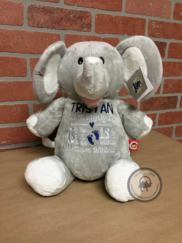 Custom Embroidered Elephant Cubby - Grey Elephant