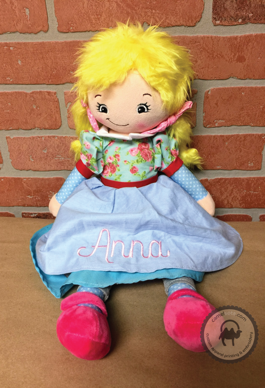 Custom Embroidered Rag Doll - Blonde