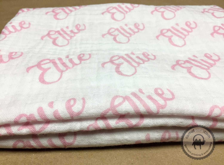 """Double Gauze Baby Swaddle Blanket With Custom Name, 45""""x45"""""""