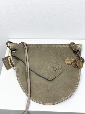 Click On Jeans Tasje  Groen/ Taupe ( Stoer Leer , 2 zijde te dragen )