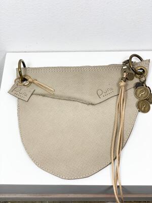 Click On Jeans Tasje  Beige Met Reliëf Leer  ( 2 zijde te dragen )