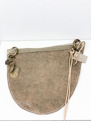 Click On Jeans Tasje  Mix Taupe -Bruin / (twee zijdes te dragen met twee verschillende voorzijdes !!!)