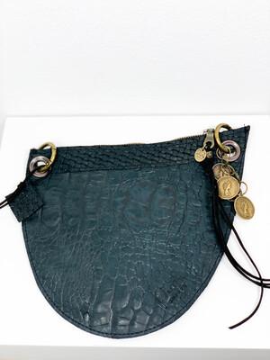 Click On Jeans Tasje  Mat Zwart / (twee zijde te dragen met twee verschillende voorzijdes !!!)