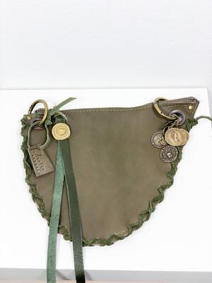 Click On Jeans Tasje  Mix Groen / (twee zijdes te dragen met twee verschillende voorzijdes !!!)