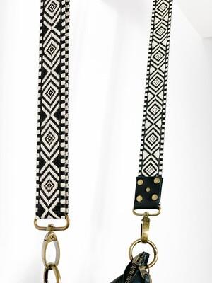 Schouderband  Black / White Extra Breed / Luxe