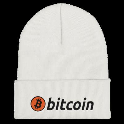 Bitcoin Cuffed Beanie - BLACK Lettering