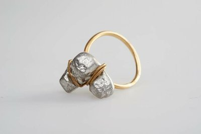 Brass and pewter, key cast ring