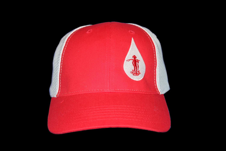 Country Boy Fishing Baseball Hat (Red/ White Logo)