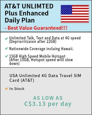 Daily AT&T Unlimited Plus Enhanced - price include a nano SIM card
